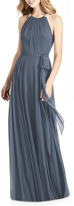Jenny Packham Crystal Strap Chiffon A-Line Gown