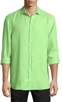 Ralph Lauren Solid Linen Long-Sleeve Sport Shirt, Spearmint