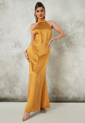 Missguided Yellow Satin Halter Neck Maxi Dress