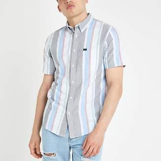 River Island Lee blue regular fit stripe shirt