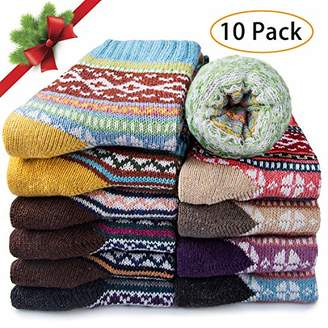 10 Pairs Womens Wool Socks - Winter Thermal Thick Knit Warm Socks for Women Christmas Gifts