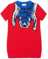 Gucci Short-Sleeve Wool Tiger Sweaterdress, Red Diamond, Size 4-12