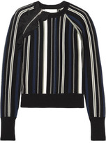 3.1 Phillip Lim Ruffle-trimmed Striped Stretch Cotton-blend Sweater - Black