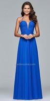 Faviana Twist Knot Chiffon Ruched Evening Dress