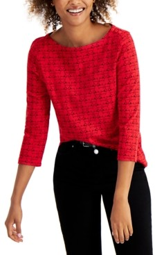 Charter Club Cotton Printed 3/4-Sleeve Top, Created for Macy's