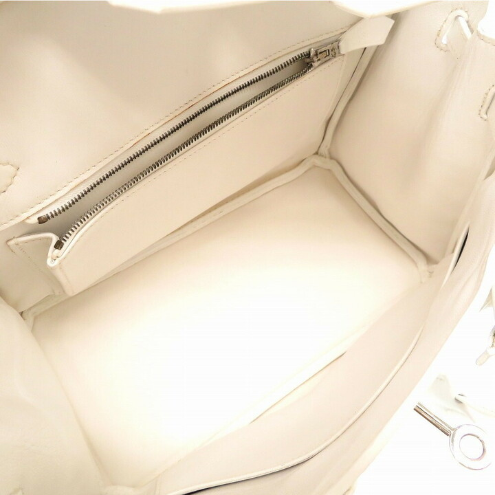 Thumbnail for your product : Hermes White Epsom Leather Palladium Hardware Birkin 25 Bag