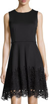 Taylor Sleeveless Party Dress with Lace Skirt, Black
