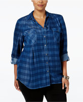 Style&Co. Style & Co Plus Size Plaid Denim Shirt, Only at Macy's