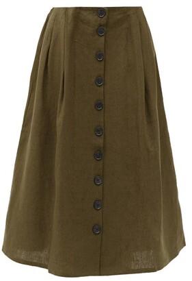 Art School Nurse Pleated Linen Skirt - Khaki
