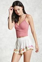 Forever 21 FOREVER 21+ Floral Embroidered Shorts