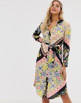Miss Selfridge midi shirt dress in scarf print