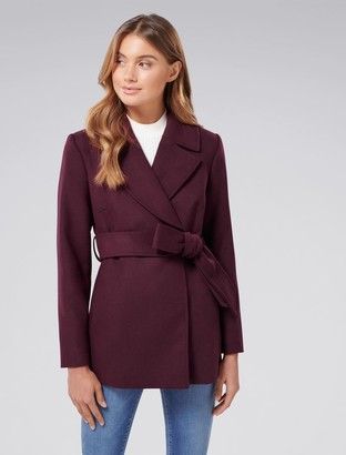 Forever New Anna Petite Crop Wrap Coat - Berry - 4