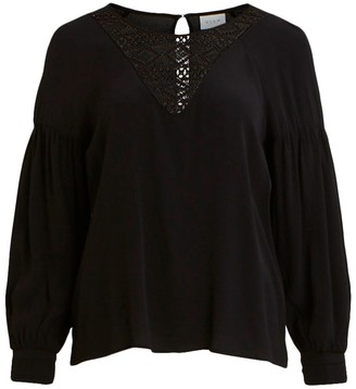 Vila Laced Blouse with Dip Hem and Long Sleeves