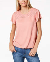 Style&Co. Style & Co Petite Crochet-Trim Flutter-Sleeve Top, Created for Macy's