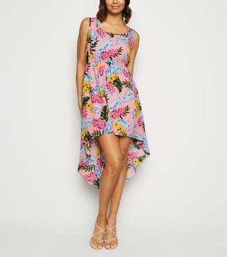 New Look Mela Tropical Print Dip Hem Dress