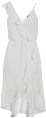 Ash Max + Women's Casual Dresses ivory - Ivory Asymmetrical Ruffle-Accent Surplice Dress - Women