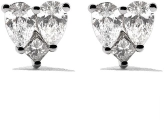 As 29 18kt white gold Mye heart illusion diamond stud earrings