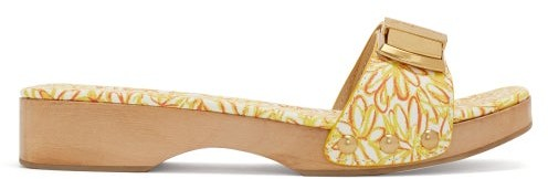 Jacquemus Tatanes Wooden-sole Floral-print Leather Slides - Womens - Orange White
