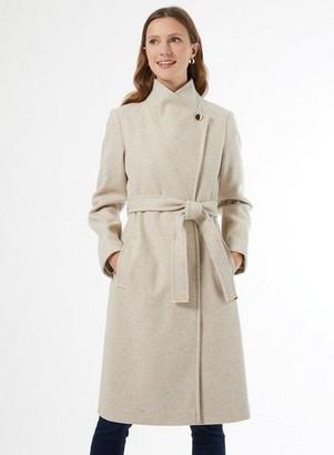 Dorothy Perkins Womens Beige Funnel Collar Wrap Coat, Beige