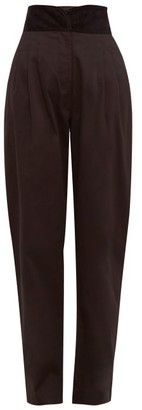 ÀCHEVAL PAMPA Gato Velour-waistband Cotton-blend Trousers - Black