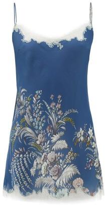Carine Gilson Lace-trimmed Floral-print Silk Nightdress - Womens - Blue Multi