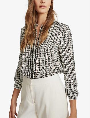 Reiss Lea geometric-print stretch-crepe blouse