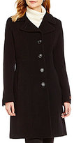 Anne Klein Single-Breasted Wool Cashmere Blend Walker Coat