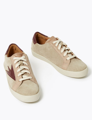 Marks and Spencer Suede Lace Up Flash Detail Trainers