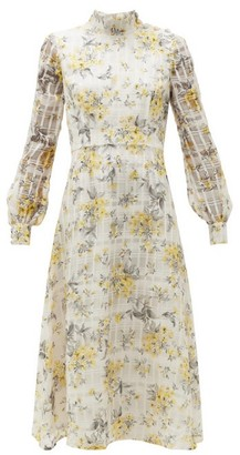 Goat Juniper Floral-print Cotton-blend Midi Dress - Light Yellow