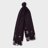 Paul Smith Women's Navy Wool Scarf With Jewel Embellishments