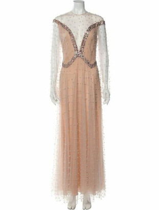 Sandra Mansour Crew Neck Long Dress