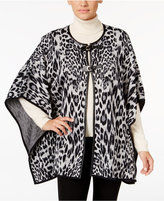 JM Collection Animal-Print Jacquard Poncho, Only at Macy's