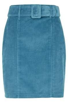Dorothy Perkins Womens Blue Belted Corduroy Mini Skirt, Blue