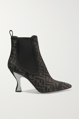 Fendi Leather-trimmed Logo-print Mesh Sock Boots - Brown