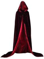 Musebridal Women's Luxury Burgundy Winter Velvet Hooded Cloak Wedding Cape Blue lining