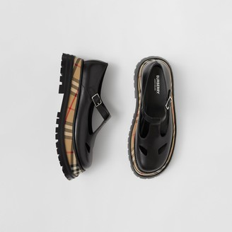 Burberry Vintage Check Detail Leather T-bar Shoes