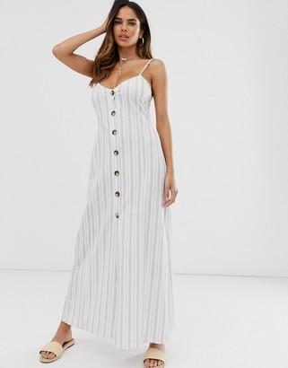 ASOS DESIGN button through maxi dress in grey stripe