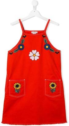 Stella McCartney TEEN flowers embroidery denim dress