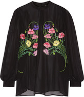 Christopher Kane Floral-appliquéd silk-chiffon blouse