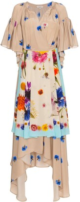 Natasha Zinko Silk Floral Apron Wrap Dress