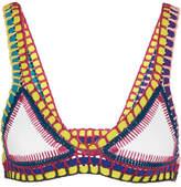 Kiini Yaz Crochet-trimmed Triangle Bikini Top - White