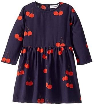 Mini Rodini Cherry Woven Long Sleeve Dress (Infant/Toddler/Little Kids/Big Kids) (Blue) Girl's Dress