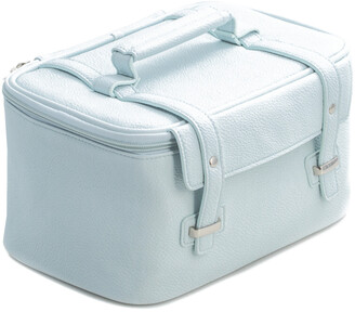 Bey-Berk Light Blue Leatherette Travel Makeup Case