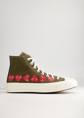 Comme des Garcons Women's Play Converse High Multi Heart Sneaker in Khaki, Size 8 | Textile/Rubber