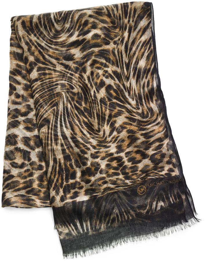 Michael Kors Moire Leopard-Print Scarf