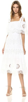 BCBGMAXAZRIA Azria Women's Cold Shoulder Eyelet Midi Dress