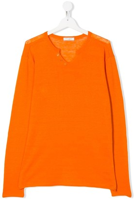 Paolo Pecora Kids TEEN snap button V-neck jumper