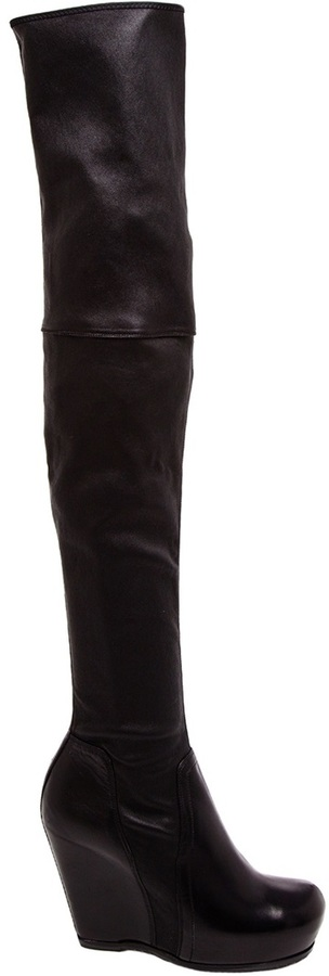 Rick Owens Leather Thigh-High Wedge Boots