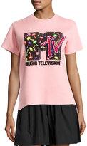 Marc Jacobs Sequined MTV Short-Sleeve Sweatshirt, Powder Pink