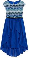 Speechless Short-Sleeve Knit Lace-to-Chiffon Dress - Girls 7-16